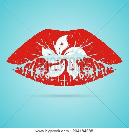 Hong Kong Flag Lipstick On The Lips Isolated On A White Background. Vector Illustration. Kiss Mark In Official Colors And Proportions. Independence Day