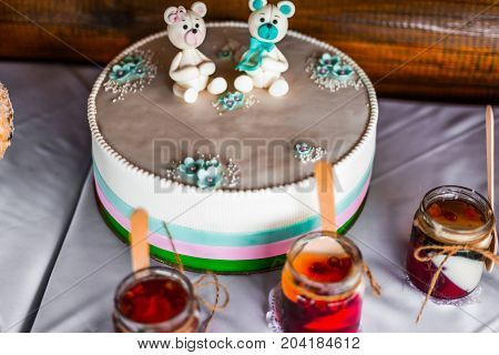Funny Figurines Suite On A Luxury White Cake For Kids Celebrate. Empty Place - Copy Paste For Your T
