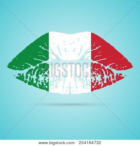 Italy Flag Lipstick On The Lips Isolated On A White Background. Vector Illustration. Kiss Mark In Official Colors And Proportions. Independence Day