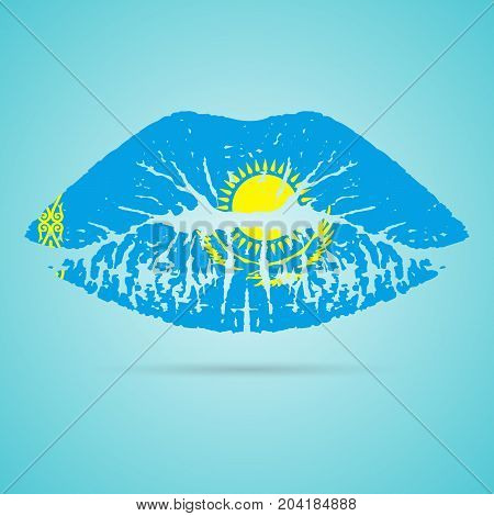 Kazakhstan Flag Lipstick On The Lips Isolated On A White Background. Vector Illustration. Kiss Mark In Official Colors And Proportions. Independence Day