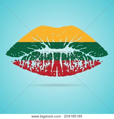 Lithuania Flag Lipstick On The Lips Isolated On A White Background. Vector Illustration. Kiss Mark In Official Colors And Proportions. Independence Day