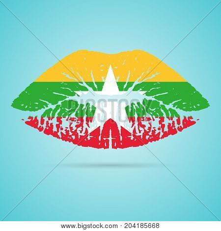 Myanmar Flag Lipstick On The Lips Isolated On A White Background. Vector Illustration. Kiss Mark In Official Colors And Proportions. Independence Day