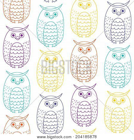 Seamless pattern with owls. Contour colored owls on white background in Doodle style.