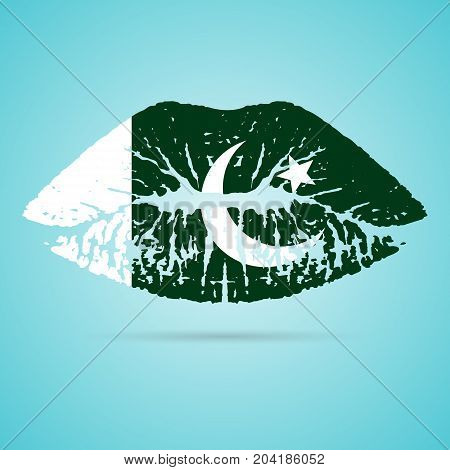 Pakistan Flag Lipstick On The Lips Isolated On A White Background. Vector Illustration. Kiss Mark In Official Colors And Proportions. Independence Day