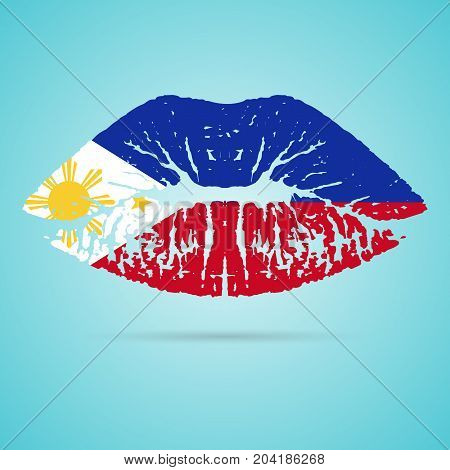 Philippines Flag Lipstick On The Lips Isolated On A White Background. Vector Illustration. Kiss Mark In Official Colors And Proportions. Independence Day