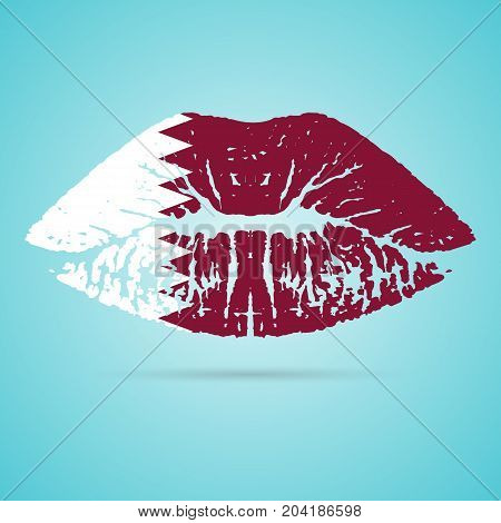 Qatar Flag Lipstick On The Lips Isolated On A White Background. Vector Illustration. Kiss Mark In Official Colors And Proportions. Independence Day