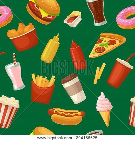 Seamless pattern fast food. Cup cola coffee donut ice cream milkshake hamburger chicken legs hotdog fry potato popcorn ketchup. Vector flat color illustration isolated on green background