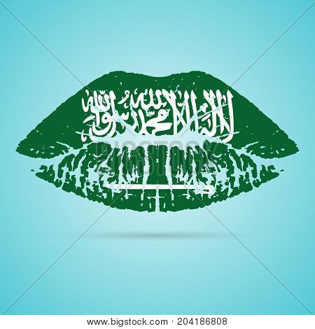 Saudi Arabia Flag Lipstick On The Lips Isolated On A White Background. Vector Illustration. Kiss Mark In Official Colors And Proportions. Independence Day
