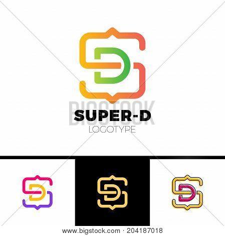 Letter S And D Monogram Square Shape Logo With Code Brackets