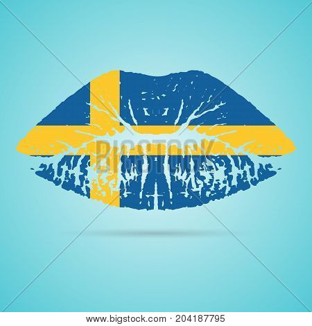 Sweden Flag Lipstick On The Lips Isolated On A White Background. Vector Illustration. Kiss Mark In Official Colors And Proportions. Independence Day