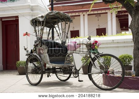 Vintage Retro Tricycle Bike Or Rickshaw Of Thai Style