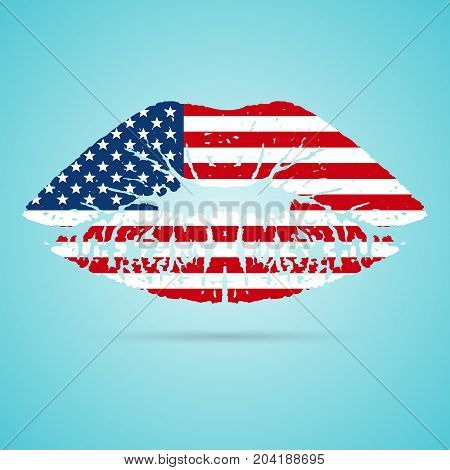 United States of America USA Flag Lipstick On The Lips Isolated On A White Background. Vector Illustration. Kiss Mark In Official Colors And Proportions. Independence Day
