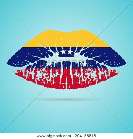 Venezuela Flag Lipstick On The Lips Isolated On A White Background. Vector Illustration. Kiss Mark In Official Colors And Proportions. Independence Day