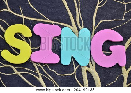 WORD SING ON A  ABSTRACT COLORFUL BACKGROUND
