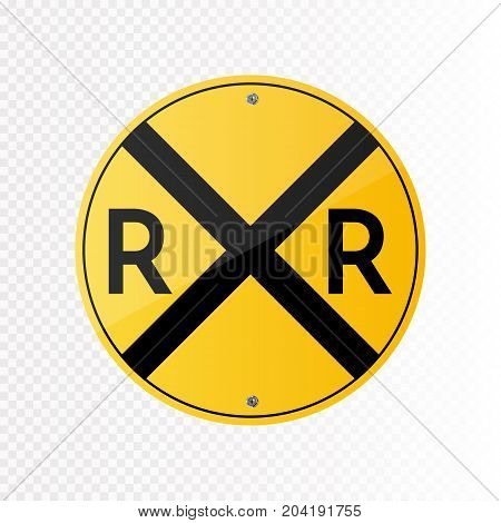 Railroad vector crossing traffic sign isolated on transparent background. Vector illustration