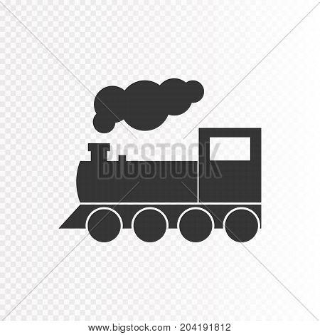 Locomotive isolated on transparent background. Train vector illustration