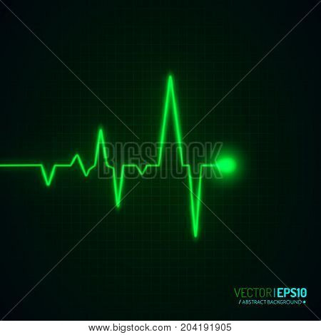 Heart pulse graphic isolated on black. Medical background with heart cardiogram. Vector background.