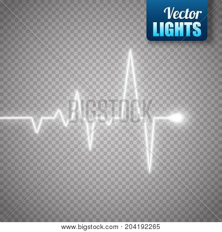Heart pulse graphic isolated on transparent background. Medical vector background with heart cardiogram.