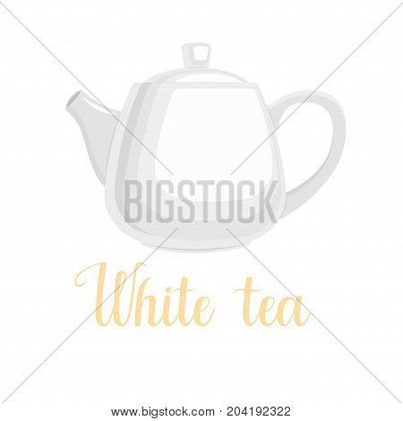 Teapot on white background, handwritten title