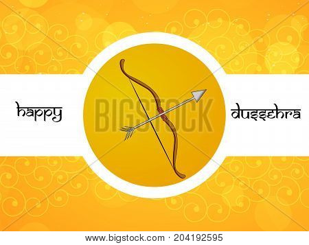 illustration of arrow and bow with Happy Dussehra text on the occasion of hindu festival Dussehra