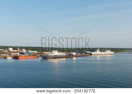 Industrial ships Canadian Coast Guard College Sydney Nova Scotia Canada