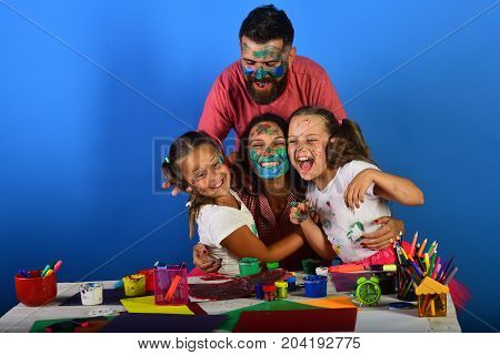 Family Time And Art Concept. Artists Create Artwork And Hug