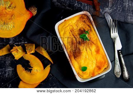 cottage cheese and pumpkin pudding with cinnamon and mint