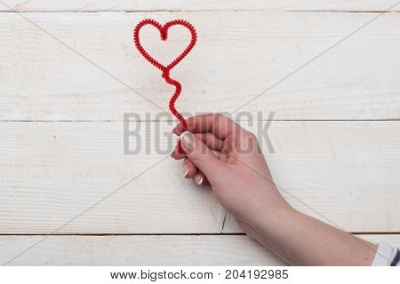 Female Hand Holding Red Fuzzy Wire Heart, Top View