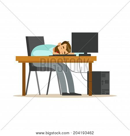 Tired businessman sleeping at workplace on laptop keyboard, exhausted office worker relaxing vector Illustration on a white background