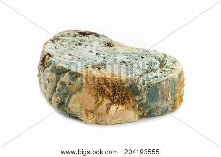 Moldy bread isolated on white background. Spoiled food