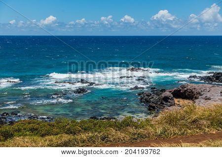 A view of the sea and shoreline near Paia on Maui Hawaii.