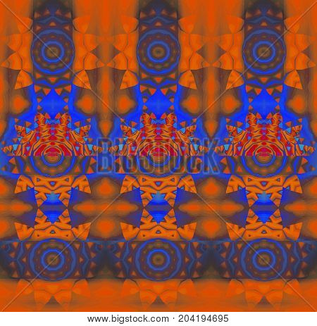 Abstract geometric fantasy background. Regular concentric circle ornaments orange, blue, purple, brown and red, conspicuous and dreamy.