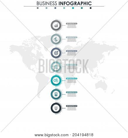Business data, chart. Abstract elements of graph, diagram with 7 steps, strategy, options, parts or processes. Vector business template for presentation. Creative concept for infographic