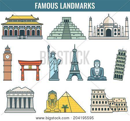 World landmarks. Travel and Tourism. Vector illustration