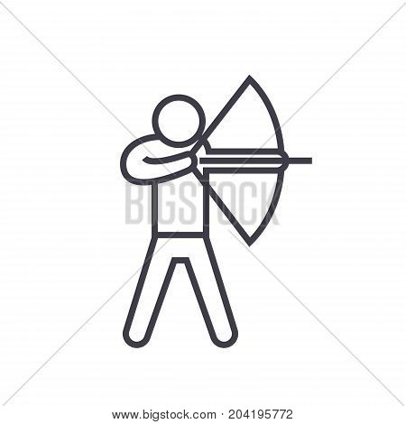 Archery flat line illustration, concept vector isolated icon