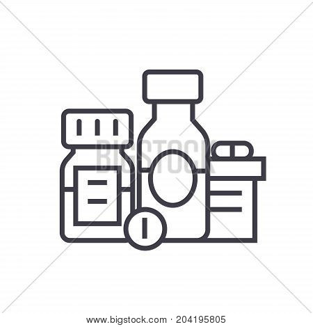 Baa, biologically active additives, pills, medicament flat line illustration, concept vector isolated icon poster