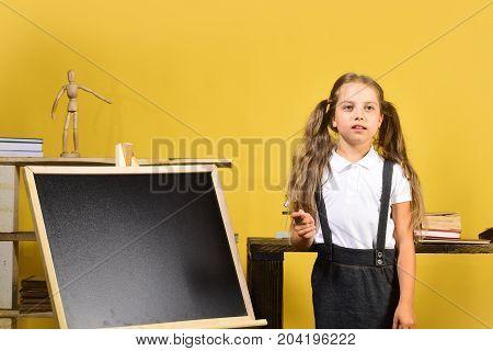 Girl Writes On Blackboard, Copy Space. Schoolgirl With Thoughtful Face
