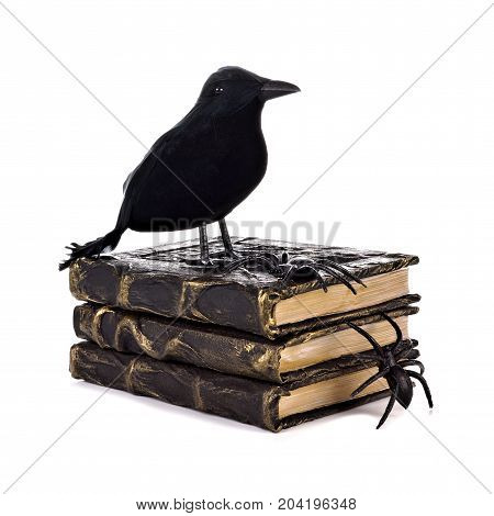 Crow Atop A Stack Of Handmade Halloween Spell Books Isolated On A White Background