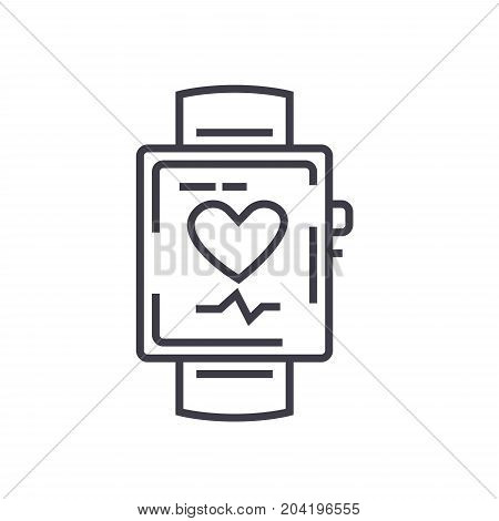 Smart watch  flat line illustration, concept vector isolated icon