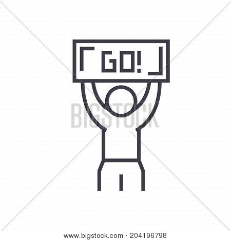 Winner, go flat line illustration, concept vector isolated icon