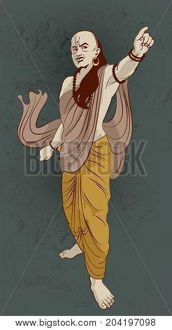 stock illustration of Chanakya, popular indian teacher in ancient India