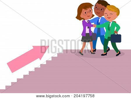 Three success female managers climbing a staircase, vector illustration