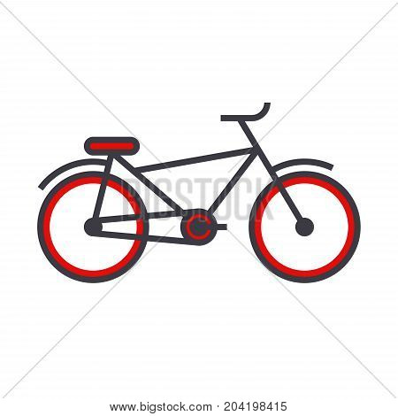 Bicycle flat line illustration, concept vector icon isolated on white background