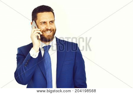 businessman technology and people concept happy businessman with smartphone talking in office near guy employee copy space