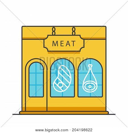 Butcher shop, butchery, meat business flat line illustration, concept vector icon isolated on white background