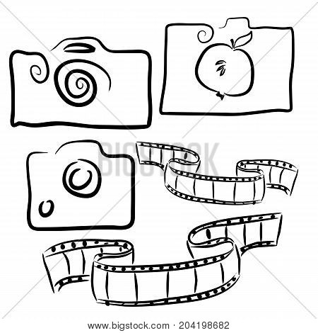Phototem contours icons. Three cameras drawn contours concept fudphoto film for filming