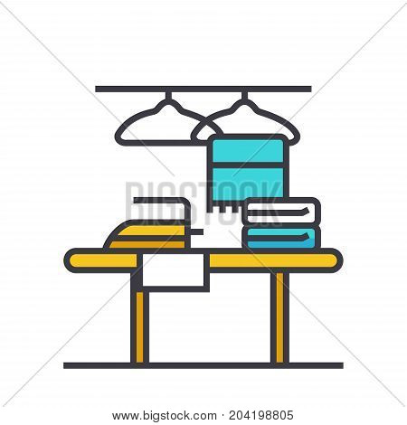 Cleaning service flat line illustration, concept vector icon isolated on white background