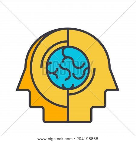Collective opinion, thinking flat line illustration, concept vector icon isolated on white background