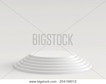 Empty white podium stage on white background. 3D rendering.