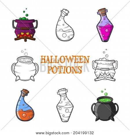 cartoon Happy Halloween potions set of vector icons